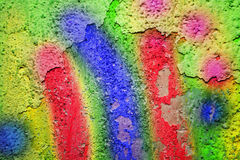 Mangy wall with colored paint Royalty Free Stock Photos