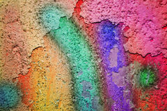 Mangy wall with colored paint Stock Images