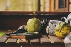 Manhã acolhedor do outono na casa de campo, no copo do chá e na cobertura morna na tabela de madeira Fotografia de Stock Royalty Free