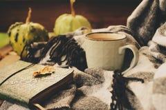 Manhã acolhedor do outono na casa de campo, no copo do chá e na cobertura morna na tabela de madeira Foto de Stock