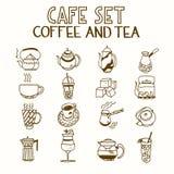 A manhã ajustada do café e do chá da garatuja do café toma o café da manhã Fotografia de Stock Royalty Free