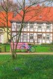 Manhã da mola em vilas alemãs Wolfsburg fotografia de stock royalty free