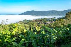 Manhã da névoa e do sol após a montanha foto de stock royalty free