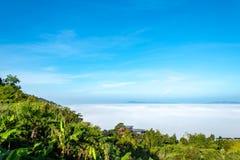 Manhã da névoa e do sol após a montanha imagem de stock royalty free