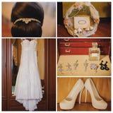 a manhã da noiva Acessórios do casamento no fundo de madeira Fotografia de Stock Royalty Free