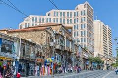 Manhã da rua de Jaffa do Jerusalém Fotografia de Stock Royalty Free