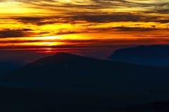 Manhã da silhueta do nascer do sol Foto de Stock