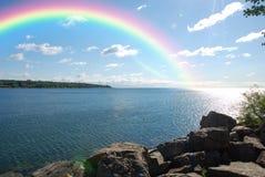 Manhã do arco-íris fotografia de stock