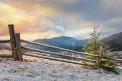Manhã do inverno em montanhas nevados Paisagem imagens de stock royalty free
