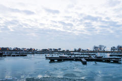 Manhã em um porto Fotos de Stock Royalty Free