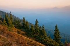 Manhã enevoada adiantada em montanhas Carpathian Imagens de Stock Royalty Free