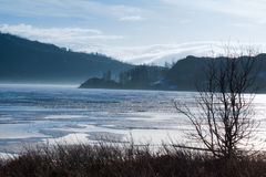 Manhã enevoada no lago Imagens de Stock