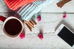 Manhã, lenço e camiseta do inverno com um copo do café quente conectado sempre, telefone imagens de stock