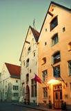 Manhã na cidade velha de Tallinn Fotos de Stock
