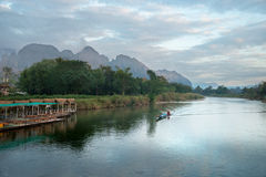 Manhã na montanha no Lao Imagens de Stock Royalty Free