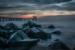 Manhã nebulosa em Burgas Fotos de Stock Royalty Free
