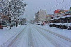 Manhã nevado de Petrich e rua de Rockefeller ocidental Fotografia de Stock Royalty Free