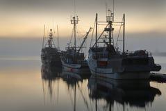 Manhã nevoenta de Fishboats Imagem de Stock