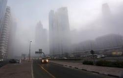 Manhã nevoenta em Dubai Fotografia de Stock