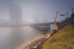 Manhã nevoenta no centro da cidade australiana moderna grande Fotografia de Stock Royalty Free