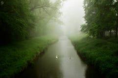 Manhã nevoenta pelo rio Imagem de Stock Royalty Free