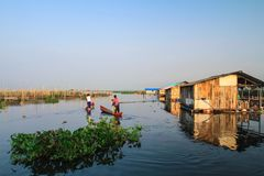Manhã no lago Rawapening Fotografia de Stock Royalty Free