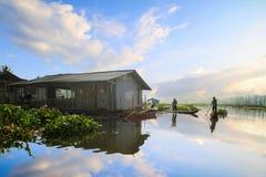 Manhã no lago Rawapening Foto de Stock
