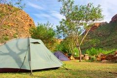 Manhã no local de acampamento Imagem de Stock