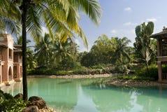 Manhã no recurso luxuoso em Goa sul. foto de stock