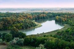 Manhã no rio de Kuban Fotos de Stock