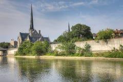 Manhã quieta pelo rio grande em Cambridge Imagem de Stock