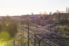 Manhã Railway BRITÂNICA Autumn View fotografia de stock