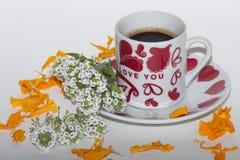 Manhã romântica com café fotos de stock