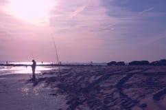 Manhã ventoso dos pescadores do ponto da pesca do ponto de New York City Imagens de Stock