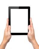 Manhänder rymmer en tablet med den isolerade skärmen Arkivfoton