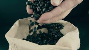 Manhänder som rymmer kaffebönor i kanfassäck och några som ner faller, skottultrarapid, jordbruk och näring arkivfilmer