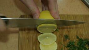 Manhänder som skivar citronen soup för ryss för borschtcloseupkokkonst arkivfilmer