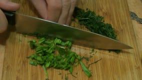 Manhänder som skivar salladslökar soup för ryss för borschtcloseupkokkonst stock video