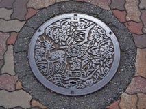 Manhålavrinningräkning på gatan på Nara, Japan royaltyfri bild