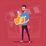 Manhålltummen upp den moderna videopd kanalen för den BloggerVlog skaparen gillar vektor illustrationer
