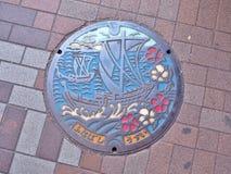 Manhålräkning av den Funabashi staden i den Chiba prefekturen, Japan Royaltyfria Bilder