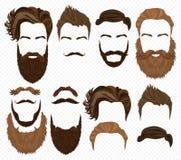 Manhår, mustasch och skäggsamling Höga detaljerade modebeståndsdelar för Hipster på alfabetiskbakgrund vektor illustrationer