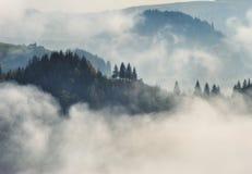 Manh? do outono Nascer do sol nevoento nas montanhas Carpathian imagem de stock