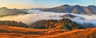 Manh? do outono Nascer do sol nevoento nas montanhas Carpathian fotos de stock
