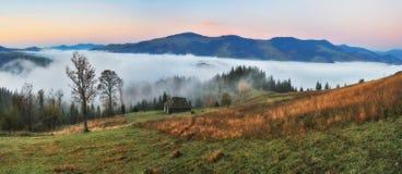 Manh? do outono Nascer do sol nevoento nas montanhas Carpathian fotografia de stock