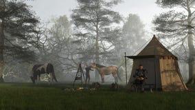 Manhã no acampamento dos cavaleiros Fotos de Stock Royalty Free