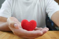 Manhand som rymmer röd hjärta Arkivfoto