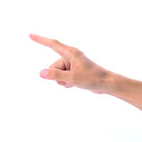 Manhand som trycker på och pekar Royaltyfria Foton