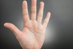 Manhand som visar de fem isolerade fingrarna Royaltyfri Foto