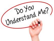 Manhandhandstil förstår du mig? med den svarta markören på visu Royaltyfria Foton